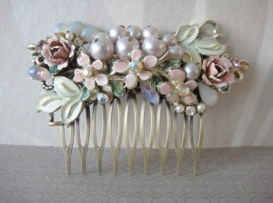 Romantic flower bouquet vintage collage bridal haircomb