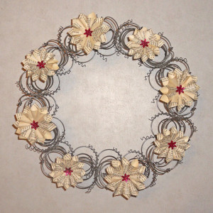 Bed Spring Wreath with Magnetic Book Page Flowers
