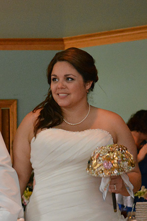 At my wedding with my beautiful brooch bouquet, I made!